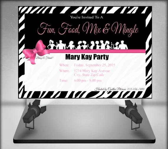 Mary Kay Invitations Template Beautiful Mary Kay Zebra Party Invitation by Ofcreativity On Etsy