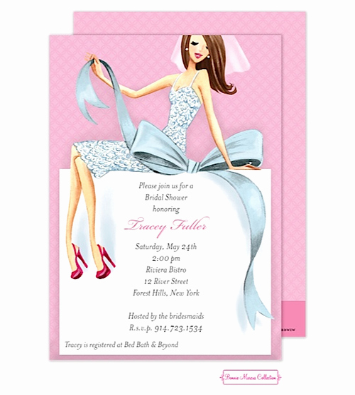 Mary Kay Invitations Template Elegant Beautiful Bride with Bow Brunette Bridal Shower