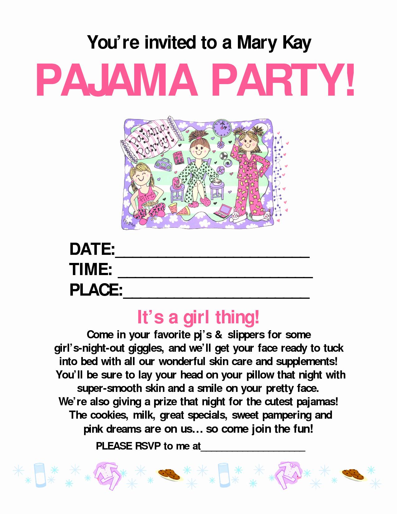 Mary Kay Party Invitation Elegant Pajama Party Mary Kay Mary Kay Pinterest