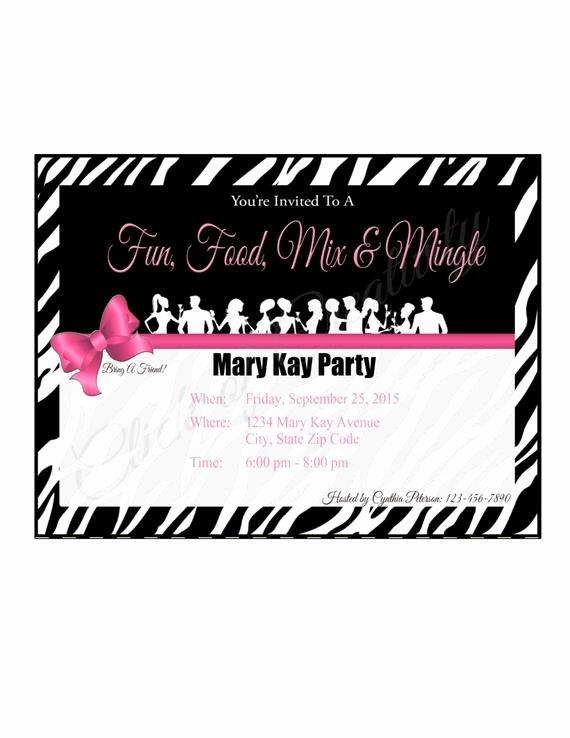 Mary Kay Party Invitation Lovely Mary Kay Zebra Party Invitation