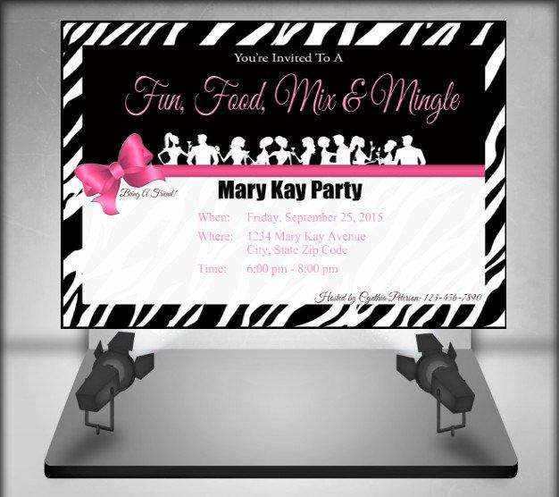 Mary Kay Party Invitation Luxury Mary Kay Zebra Party Invitation by Ofcreativity On Etsy