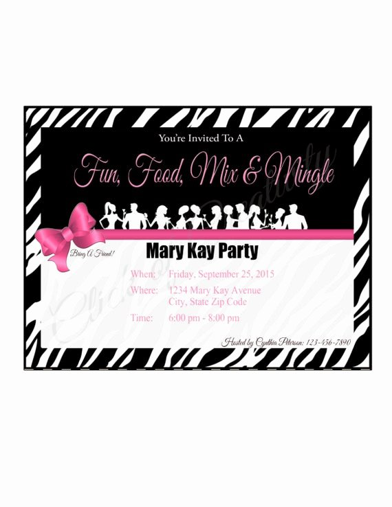 Mary Kay Party Invites Elegant Mary Kay Zebra Party Invitation