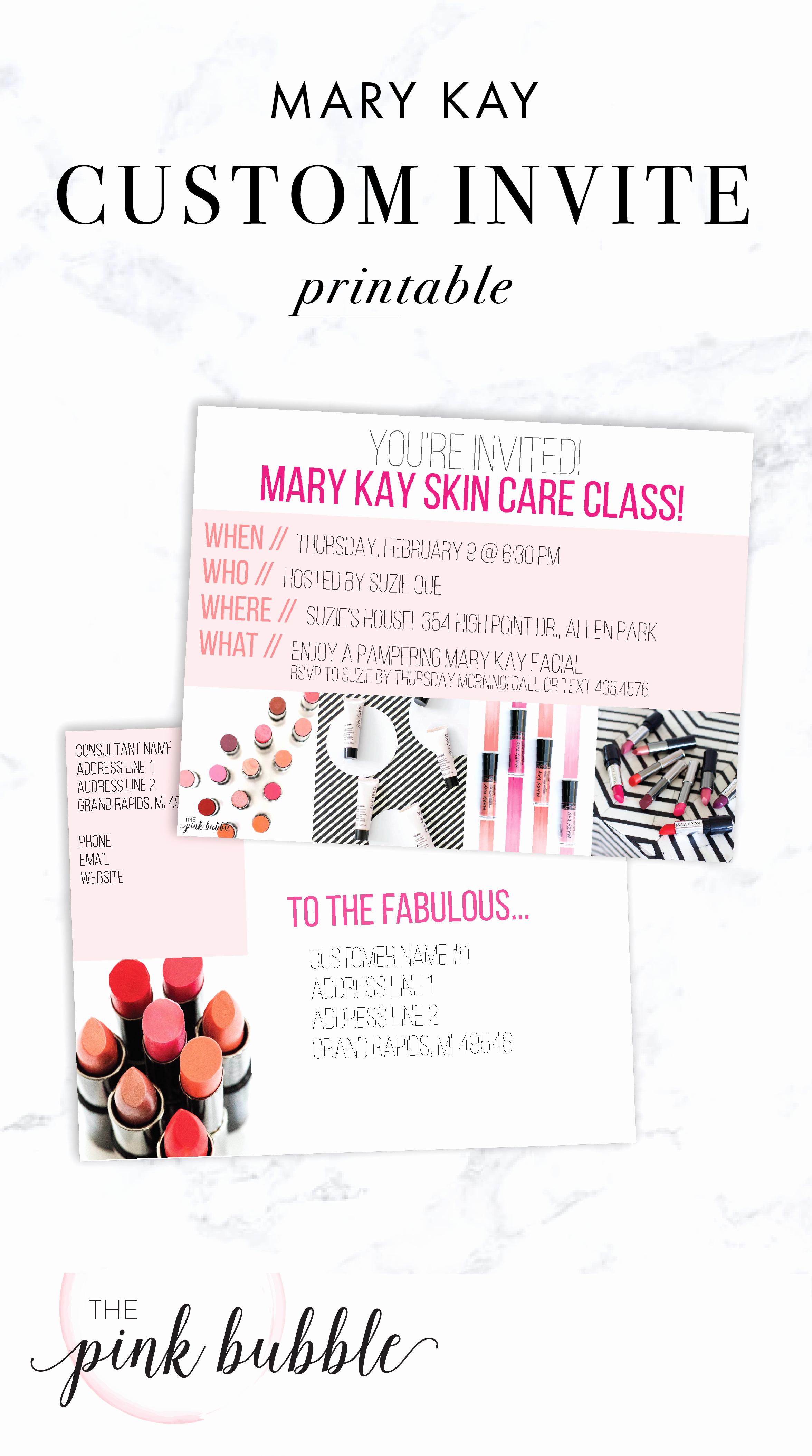 Mary Kay Party Invites New Mary Kay Custom Party Invitation Edit the Title & Details