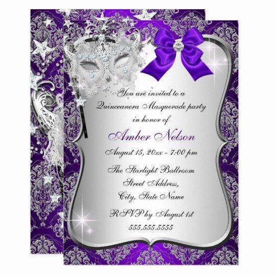 Masquerade Invitations for Quinceaneras Beautiful Purple Damask Mask Quinceanera Masquerade Invite