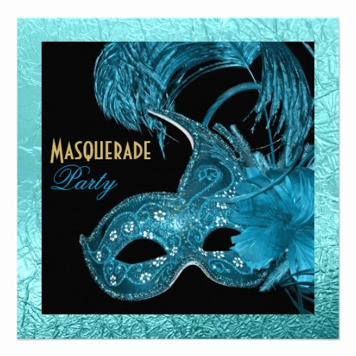 Masquerade Invitations for Quinceaneras Elegant Masquerade Quinceañera Party Blue Gold Foil 5 25x5 25