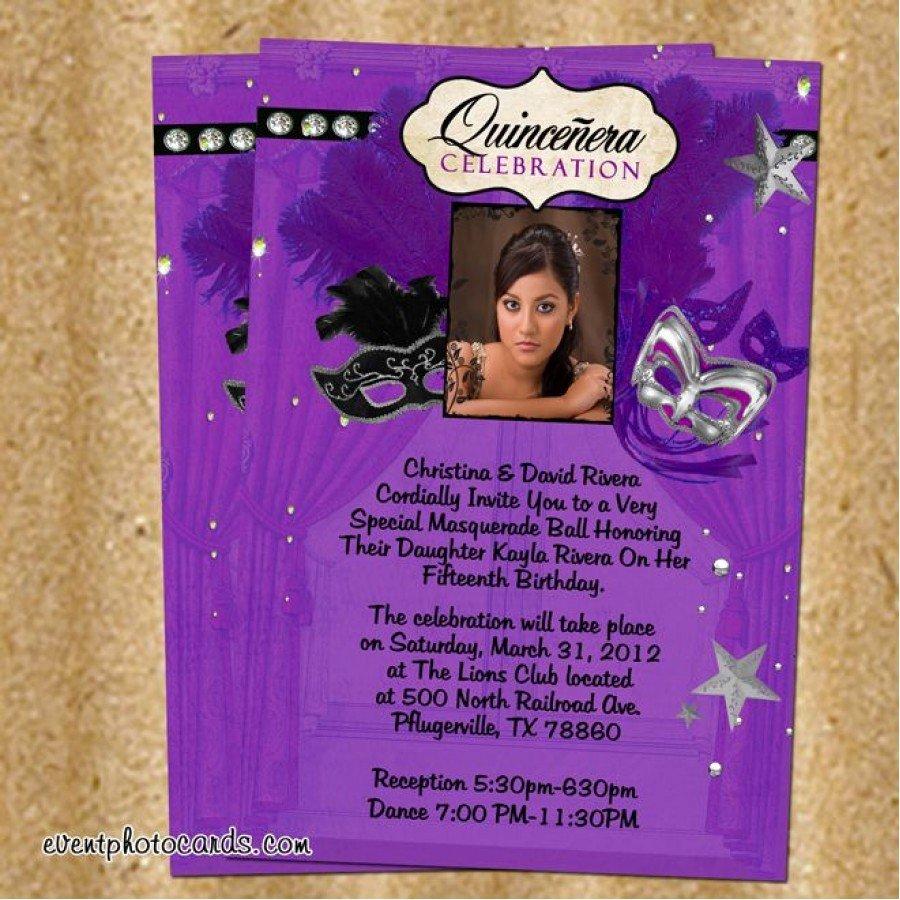 Masquerade Invitations for Quinceaneras Elegant Purple Silver Masquerade Quinceanera Invitations