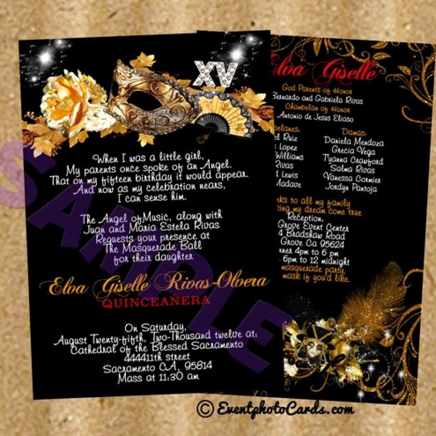 Masquerade Invitations for Quinceaneras Fresh Gold Mask Black Shimmer Sweet 15 Birthday Invitations