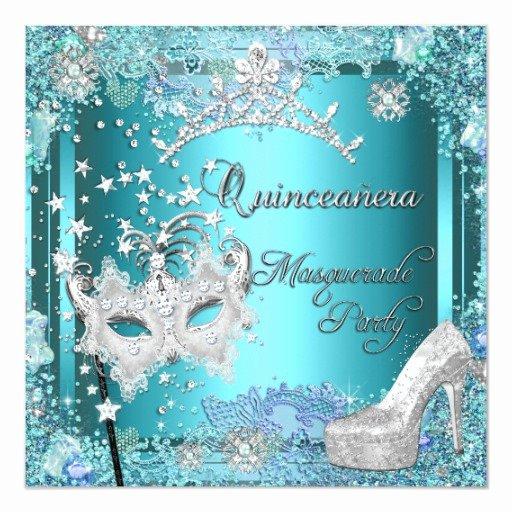 Masquerade Invitations for Quinceaneras Fresh Masquerade Quinceanera 15th Party Blue Tiara Shoe 5 25
