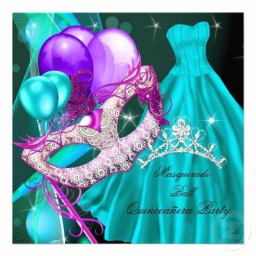 Masquerade Invitations for Quinceaneras Inspirational Masquerade Quinceanera Birthday Teal Purple Personalized