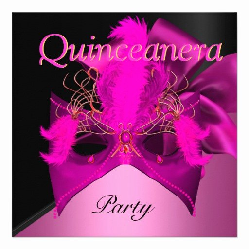 Masquerade Invitations for Quinceaneras Inspirational Quinceanera Pink Black Gold Mask Masquerade 5 25x5 25