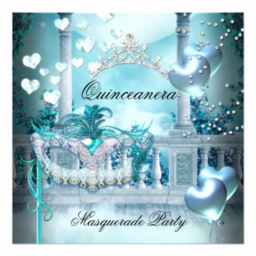 Masquerade Invitations for Quinceaneras Lovely Masquerade Quinceanera 15 Teal Birthday Party 5 25x5 25