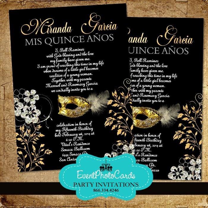 Masquerade Invitations for Quinceaneras Luxury Gold & Black Mask Quinceanera Invitations
