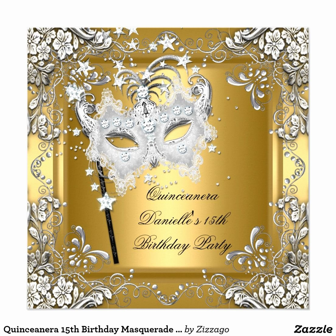 Masquerade Invitations for Quinceaneras New Quinceanera 15th Birthday Masquerade Mask Gold Invitation