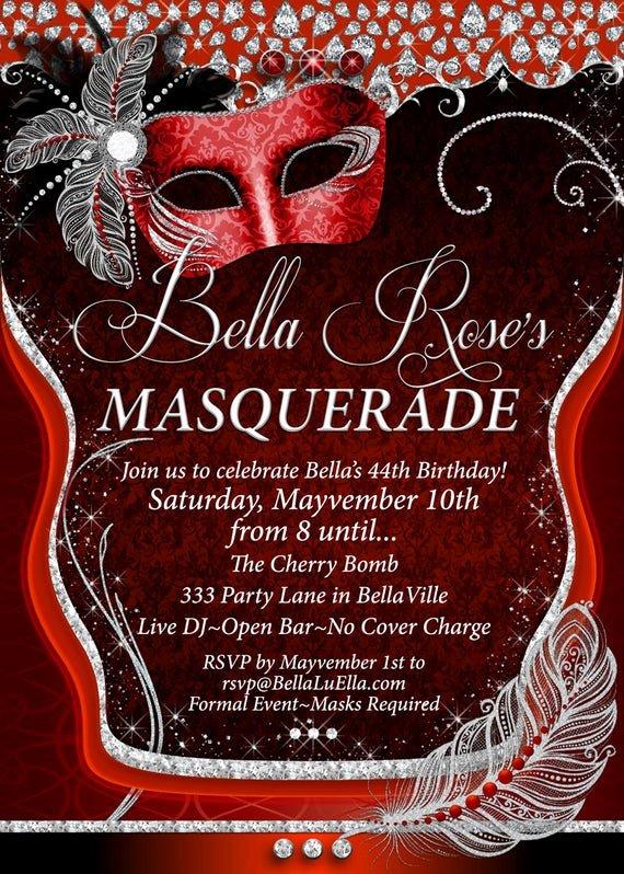 Masquerade Invitations for Quinceaneras Unique Masquerade Party Invitation Mardi Gras Party Quinceanera
