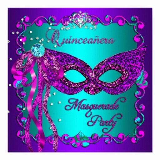 Masquerade Invitations for Quinceaneras Unique Purple Pink Teal Masquerade Quinceanera Invitation