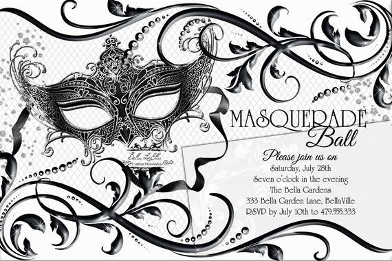 Masquerade Party Invitations Templates Free Elegant Black White Masquerade Party Quinceanera Masquerade