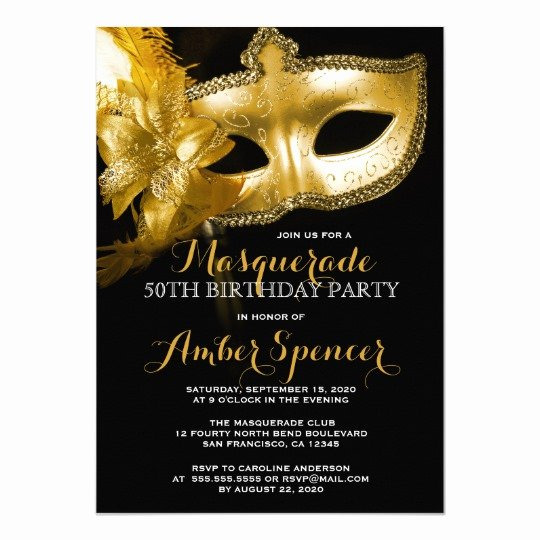 Masquerade Party Invitations Templates Free Elegant Gold Mask Masquerade 50th Birthday Party Card