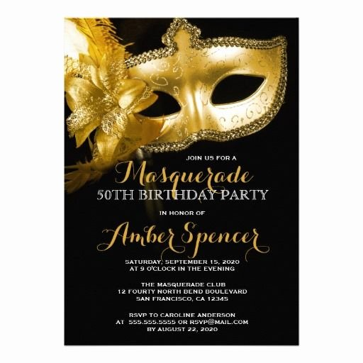 Masquerade Party Invitations Templates Free New Gold Mask Masquerade 50th Birthday Party Card