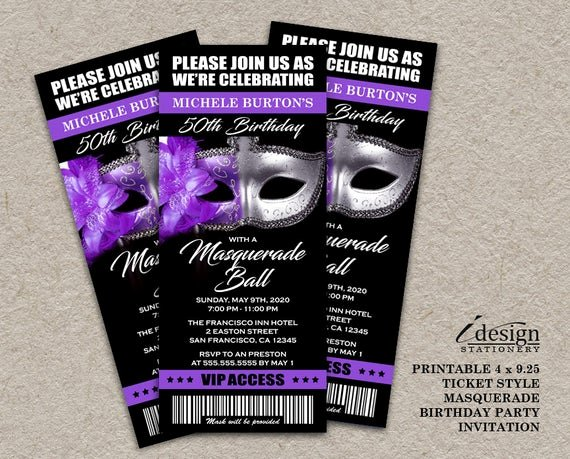Masquerade Party Invitations Templates Free Unique Masquerade Ball 50th Birthday Party Ticket Invitation