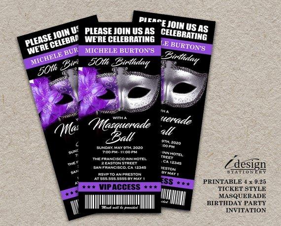 Masquerade Party Invitations Templates Free Unique Masquerade Ball 50th Birthday Party Ticket Invitation