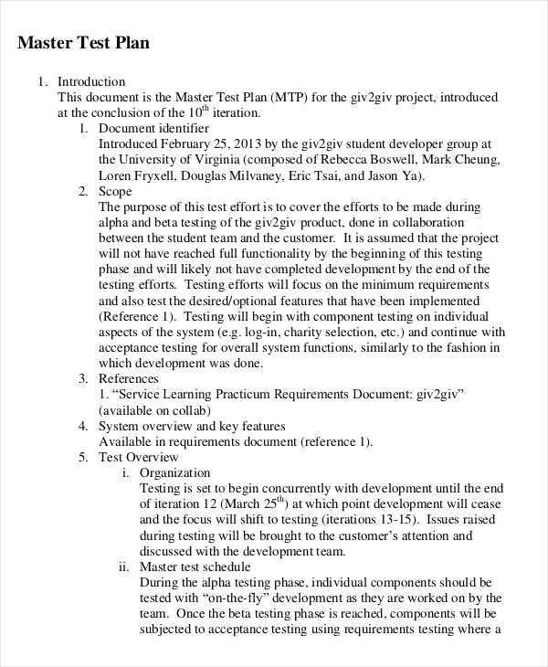 Master Test Plan Templates Beautiful 9 Sample Test Plan Templates Word Pdf