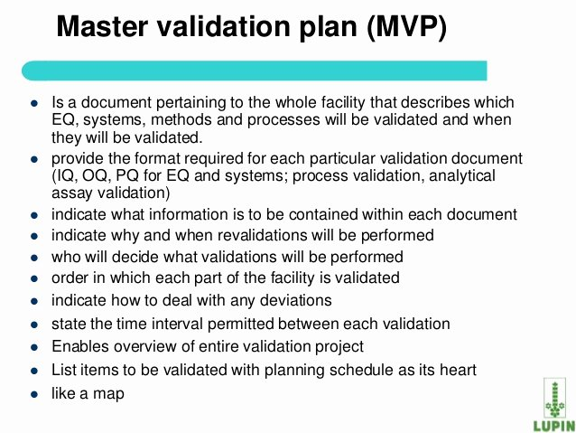 Master Test Plan Templates Beautiful Process Validation Of Api