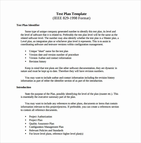 Master Test Plan Templates Inspirational 9 software Test Plan Templates Pdf Word