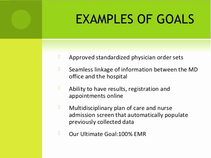 Measurable Nursing Goals Example New Emr Implementation