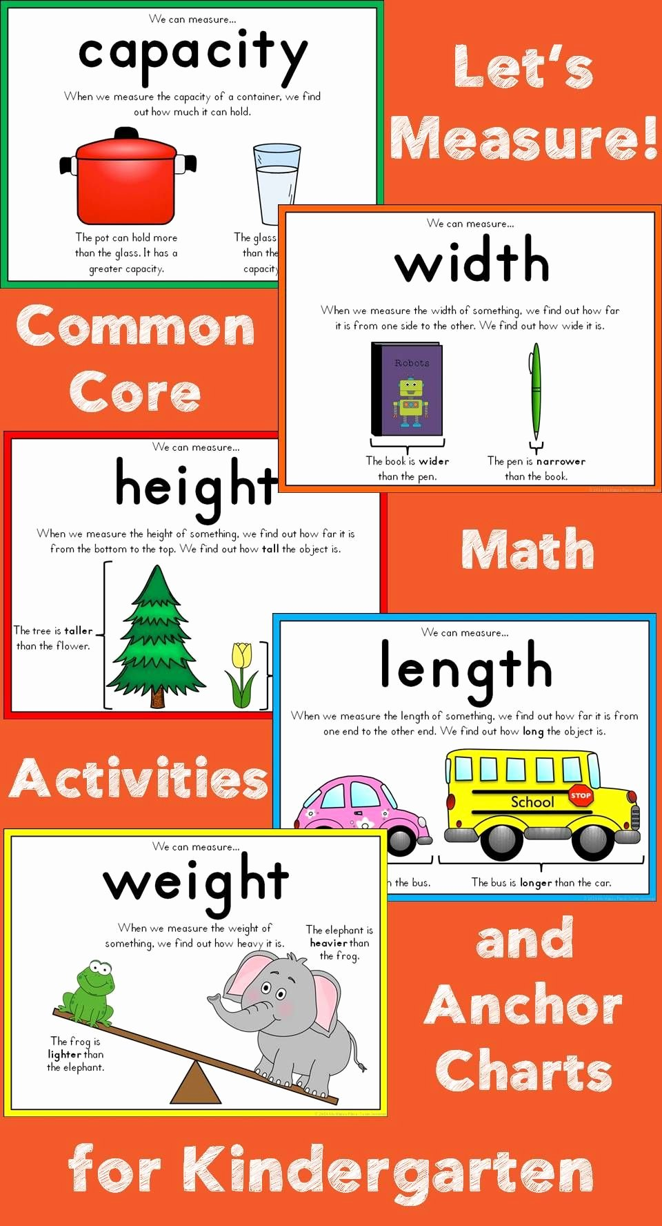 Measuring Chart for Math Awesome Measurement for Kindergarten