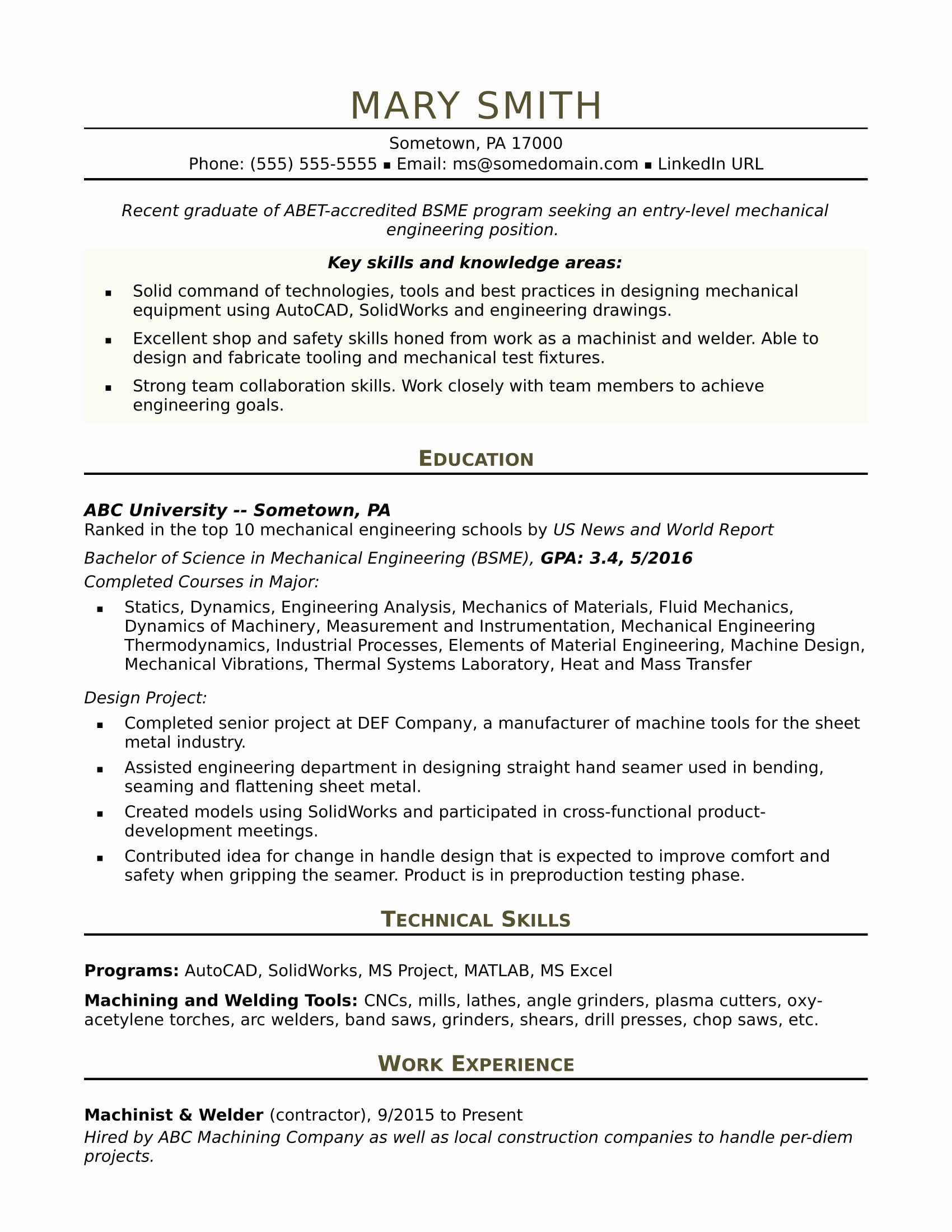 Mechanical Engineering Curriculum Vitae Awesome Sample Resume for An Entry Level Mechanical Engineer