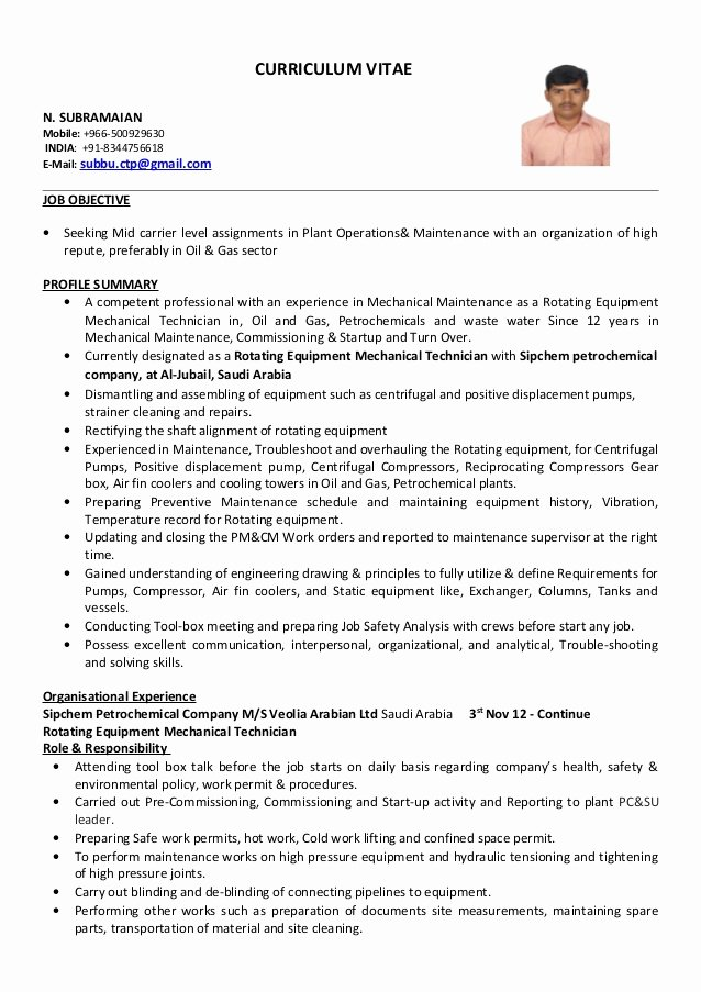 Mechanical Engineering Curriculum Vitae Elegant Mechanical Technician Cv