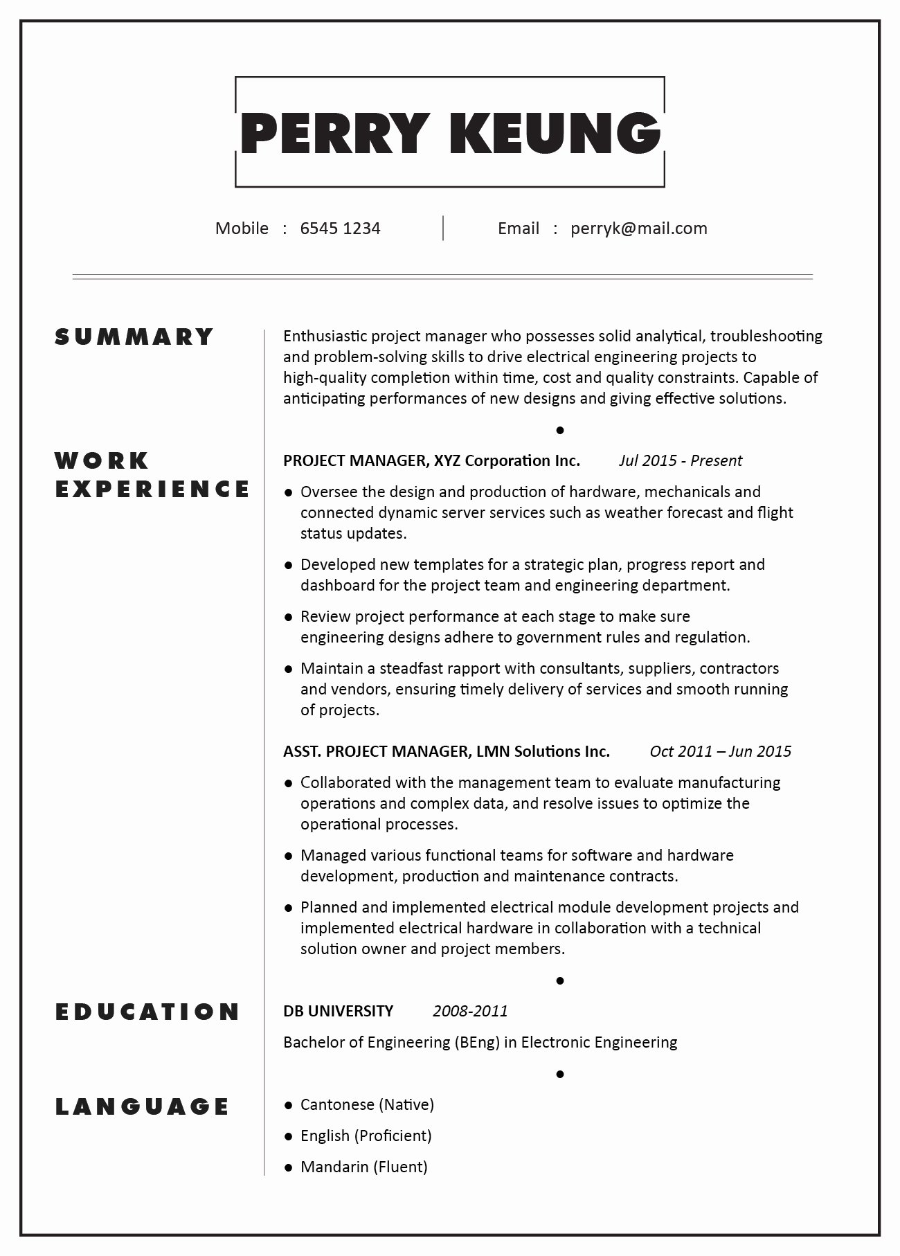Mechanical Engineering Curriculum Vitae Fresh Cv Sample – Project Manager Electronic Electrical