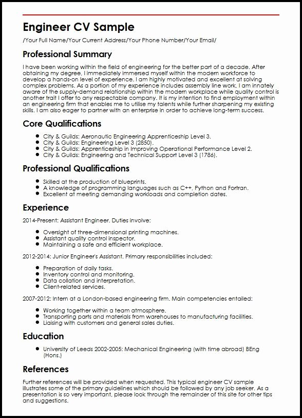 Mechanical Engineering Curriculum Vitae Fresh Engineer Cv Sample Curriculum Vitae Builder
