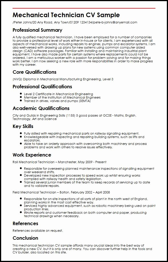 Mechanical Engineering Curriculum Vitae Inspirational Mechanical Technician Cv Sample Myperfectcv