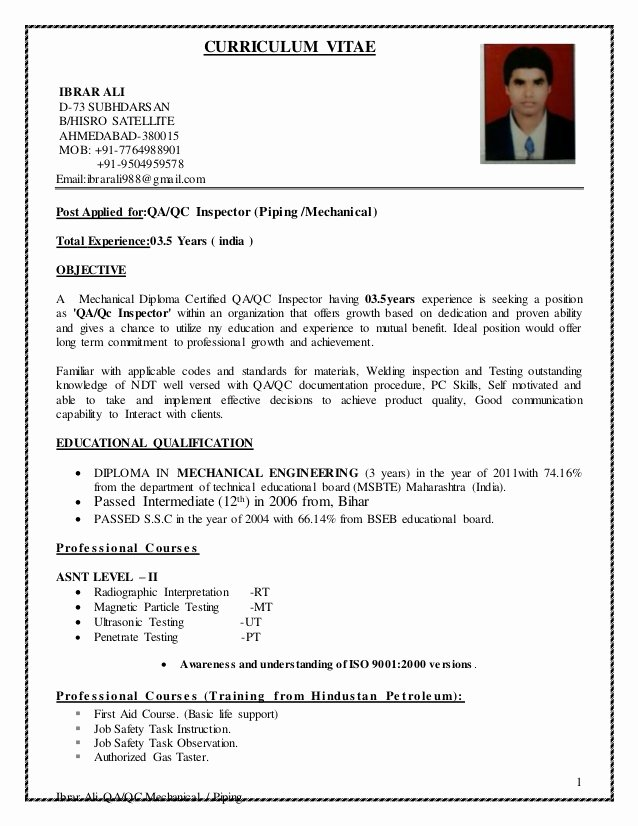 Mechanical Engineering Curriculum Vitae Inspirational Qc Cv