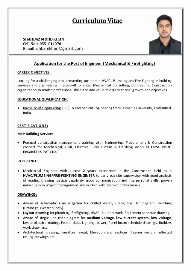 Mechanical Engineering Curriculum Vitae Inspirational Resume