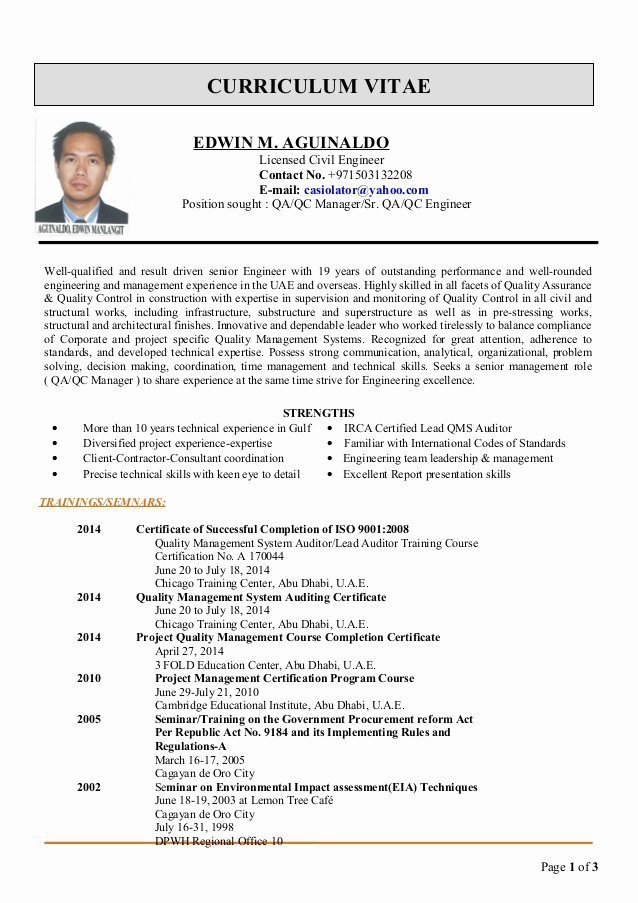 edwin cv for qaqc manager