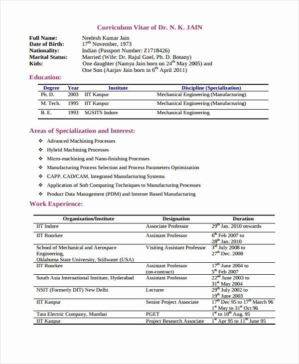 Mechanical Engineering Curriculum Vitae Unique 10 Engineer Curriculum Vitae Templates Pdf Doc