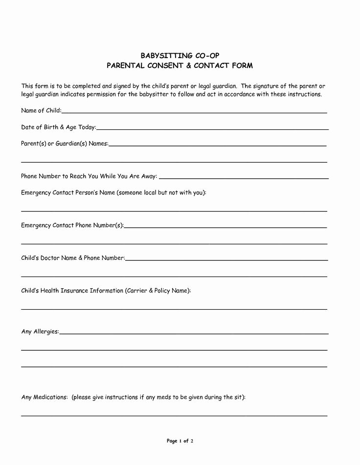 Medical Consent form for Caregiver Awesome Babysitter Medical Consent form Template