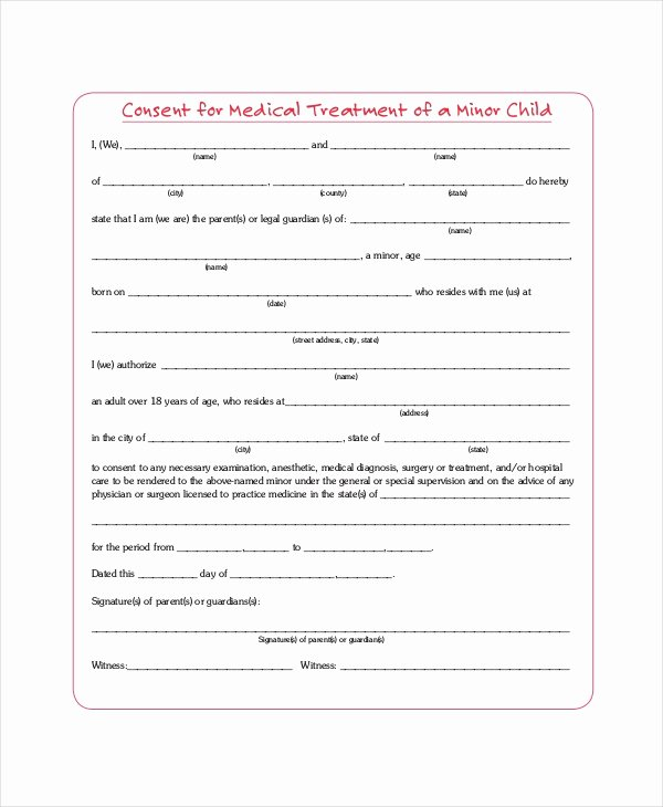 Medical Consent form for Caregiver Elegant Free 8 Sample Medical Consent forms In Pdf