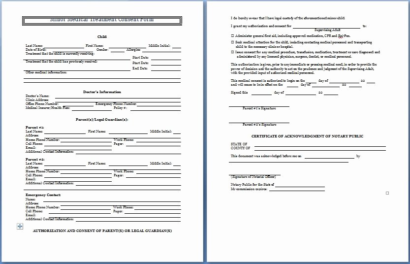 Medical Consent form for Caregiver Elegant Sample Medical Consent form