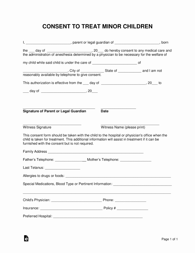 Medical Consent form for Caregiver Lovely Free Minor Child Medical Consent form Word