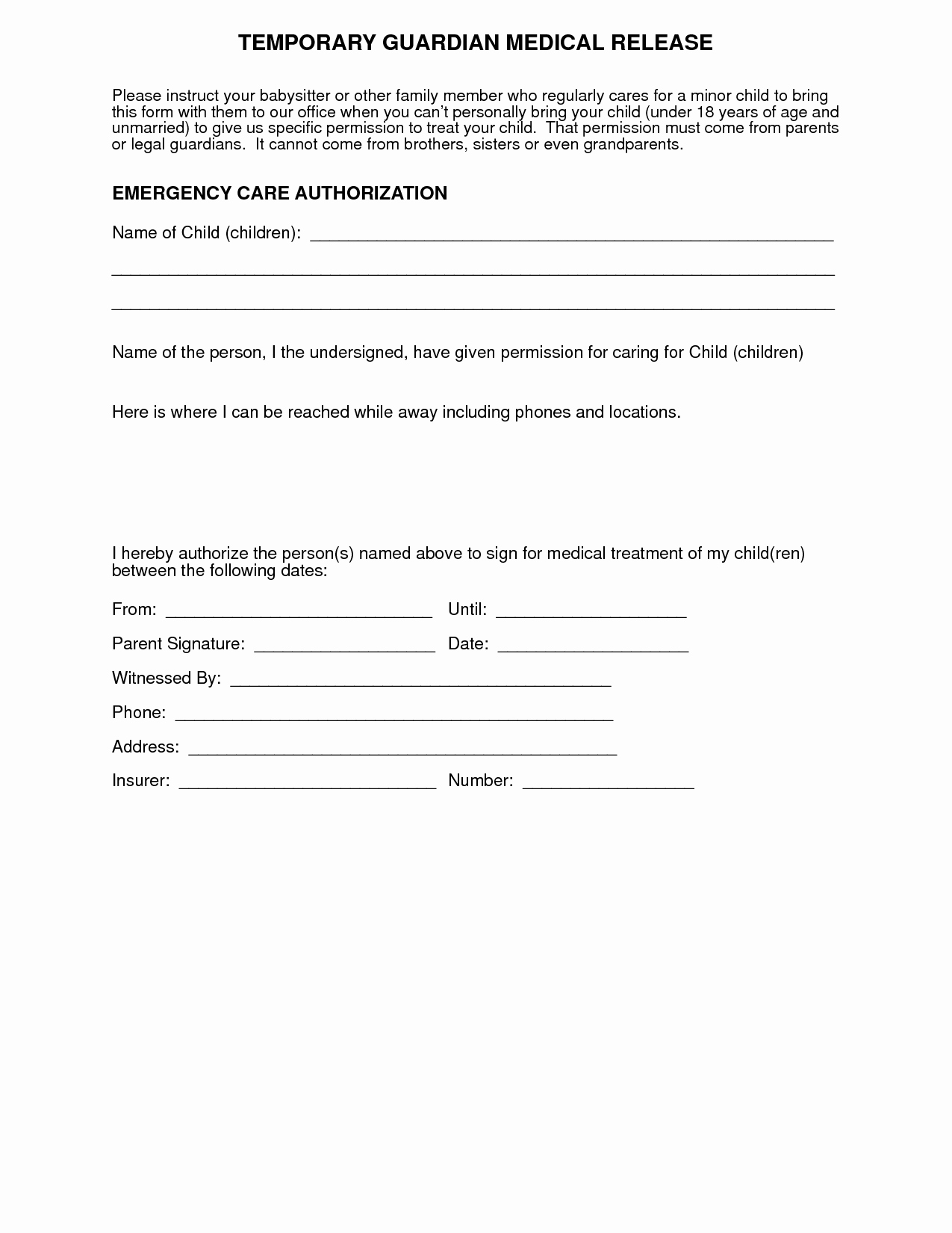 Medical Consent form for Caregiver Unique Medical Authorization form for Grandparents