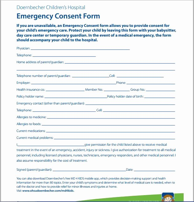 Medical Consent form for Caregiver Unique Sample Medical Consent form
