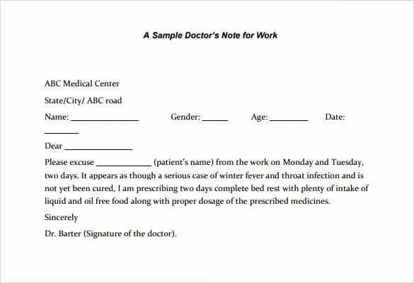 Medical Excuse Note for Work Beautiful 35 Doctors Note Templates Word Pdf Apple Pages