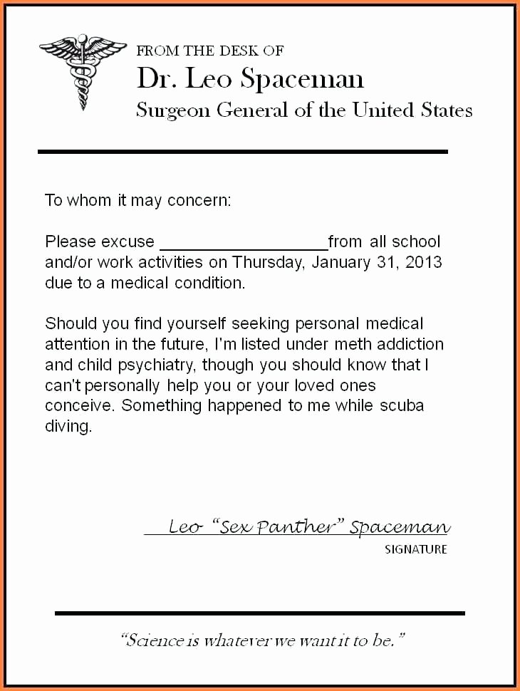 Medical Excuse Note for Work Unique Doctor Excuse Letter for Work