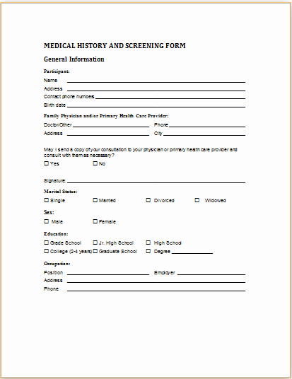 Medical form Templates Microsoft Word Awesome Medical History and Screening form