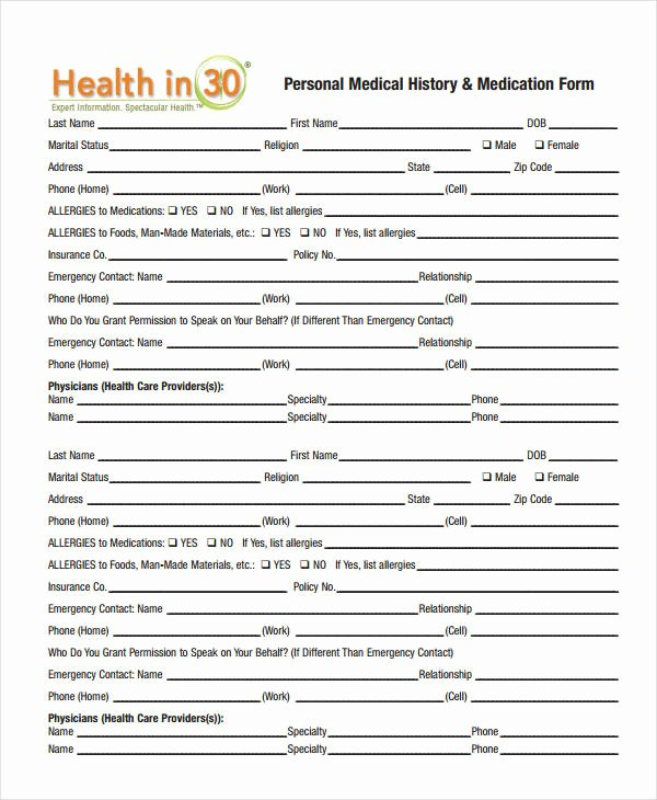 Medical form Templates Microsoft Word Best Of Medical History form 9 Free Pdf Documents Download
