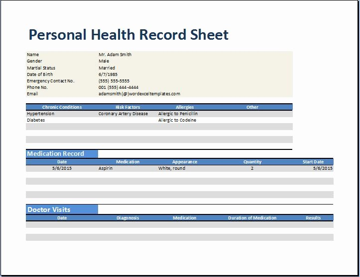 Medical form Templates Microsoft Word Best Of Personal Medical Health Record Worksheet Template