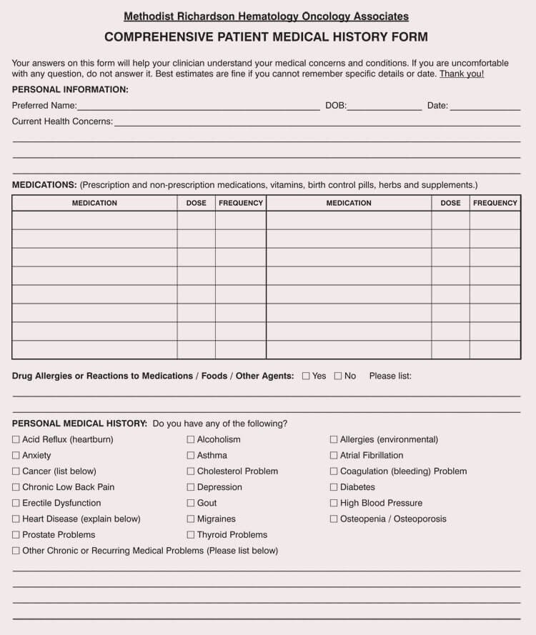 Medical form Templates Microsoft Word Fresh General Medical History forms Free [word Pdf]